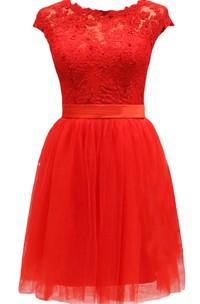 Satin Sash Lace-Bodice Short-Sleeve Dress