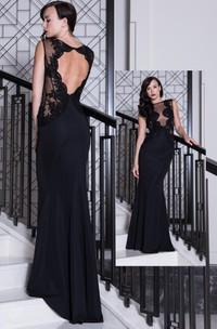 Sheath Sleeveless Floor-length Dress With Appliques And Keyhole