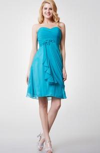 Short Floral Detailing Ruched Sweetheart Dress