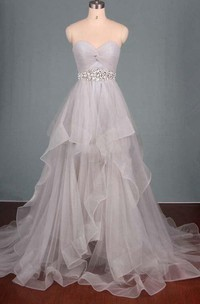 Ruched Beaded Ruffles Sweetheart Dreaming Dress