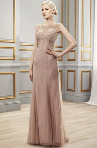 Tulle Illusion Back Appliqued Sleeveless Gown