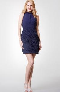 Short Keyhole Back High-Neckline Illusion Gown