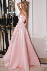 A-line Strapless Satin prom Dress With Beading