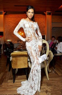 Sexy Illusion White Lace Prom Dresses 2018 Mermaid Long Sleeve