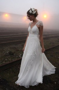 V-neck Chiffon Lace Cap Short Sleeve Wedding Gown