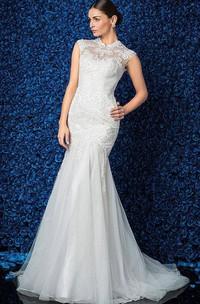 Lace Ruched Sleeveless High-Neckline Gown
