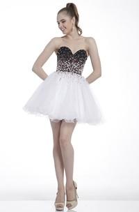 A-Line Mini Sweetheart Sleeveless Dress With Beading And Ruffles