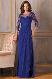 Appliqued Long-Sleeve Sheath Mother Of The Bride