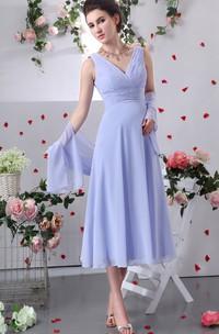 V-Neckline Crisscross Ruched Chiffon 3-4-Length Dress