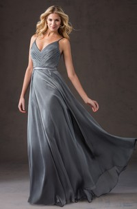 Spaghetti V-neck Sleeveless long Dress With Ruching