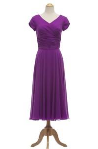 Tea-Length Ruched Waist V-Neckline Petal-Sleeve Gown