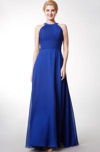 Floor-Length Key-Hole Back Ruched Halter Bridesmaid Dress