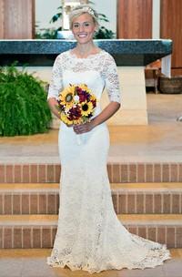 Scoop Lace Illusion Half Sleeve Wedding Dress