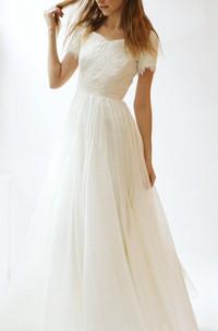 Tulle Lace Bodice Short-Sleeve V-Neckline Dress