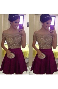 Short Sleeve A-line Short Mini Off-the-shoulder Beading Pleats Satin Homecoming Dress