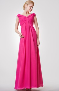 Cap-sleeved V-neck V-back A-line Pleated Chiffon Long Dress
