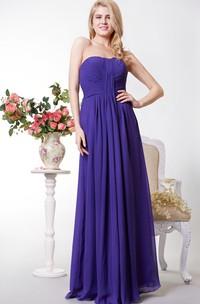 A-Line Pleated Floor-Length Chiffon Open-Back Long Dress