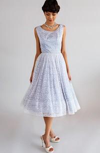 3-4-Length Low-V Back A-Line Lace Scoop-Neck Dress