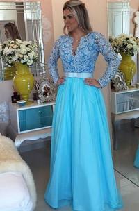 V-Neckline Floor-Length Princess A-Line Applique Dress