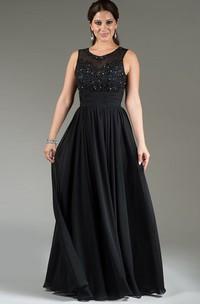 Jewel-Neck Sleeveless Chiffon Dress With Appliques And Pleats