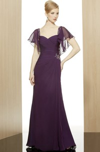 Long Zipper Back Formal Side Draping Poet-Short-Sleeve Sheath Chiffon Dress