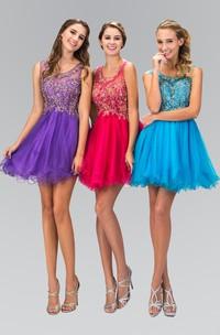 A-Line Jeweled Ruffled Short Mini Sleeveless Scoop-Neck Tulle Dress