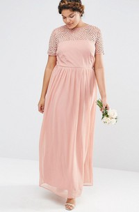 Chiffon Ankle-length plus size Dress With Pleats