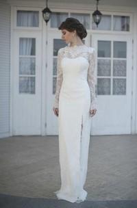 Illusion-Sleeve Slit Side High-Neckline Gorgeous Bridal Gown