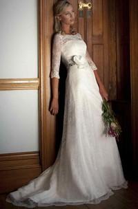 Bateau Half Sleeve Lace Wedding Dress With floral Embellished Waist