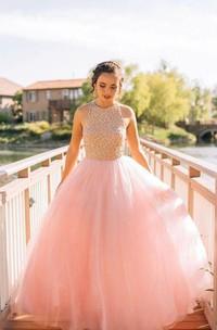Long Lace Pleats A-Line Sleeveless Princess Ball Gown
