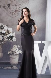 Satin Appliqued Illusion Short-Sleeve V-Neckline Dress