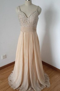 Strapped Backless Chiffon Dress With Beading