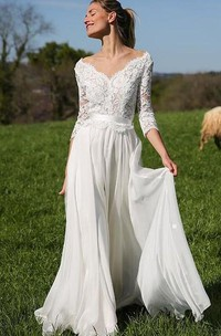 Elegant 3/4 Length Sleeve A Line V-neck Chiffon Lace Floor-length Wedding Dress