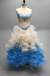 Sweetheart A Matching Collar Cascading Ruffled Strapless Ball Gown