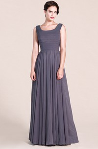 A-Line Ruched Scoop-Neck Sleeveless Long Gown