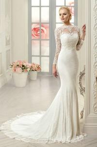 Long-Sleeve Appliqued Long Column Lace Dress