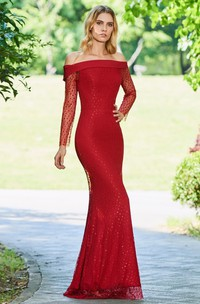 Elegant Lace Mermaid Off-the-shoulder Long Sleeve Floor Length Dress