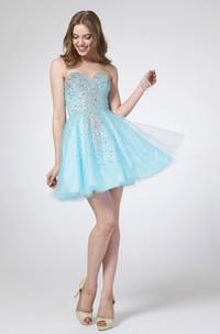 A-Line Jeweled Mini Sweetheart Tulle Sleeveless Satin Dress