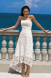 Strapless Es Wedding Sheath Gorgeous Lace Gown