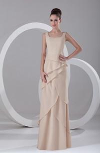 Sheath Chiffon Floor-Length Gorgeous Special-Occasion Bateau-Neck Dress