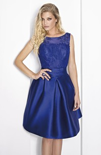 Bateau Sleeveless Satin short Dress With Lace
