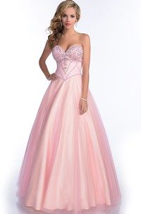 Sweetheart A-line Tulle Satin Ball Gown With Beading