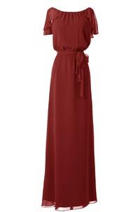 Petal-Sleeve Knot Detail Floor-Length Long Gown