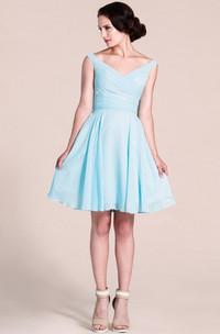 Short-Midi Pleated V-Neckline Sleeveless Bridesmaid Dress