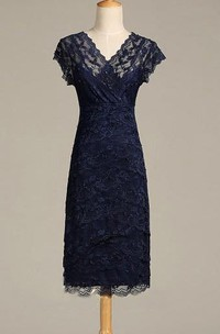 Sheath V Back Midi Cap-Sleeve V-Neckline Lace Gown