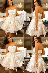 Sleeveless A-line Short Mini Sweetheart Appliques Lace Tulle Homecoming Dress