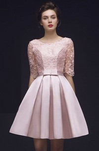 Simple Lace Knee Length Half Sleeve Dress With Bow And Corset Back