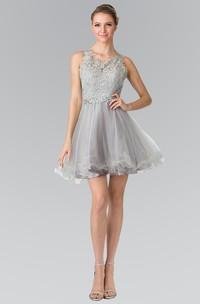 A-Line Ruffled Waist Jeweler Mini V-Neck Lace Sleeveless Keyhole Dress