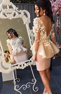 Peplum Skirt Long Sleeves Party Dresses with Appliques