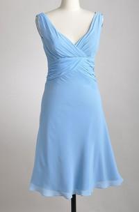 Chiffon Pleated A-Line Deep-V-Neck Short-Midi Gown